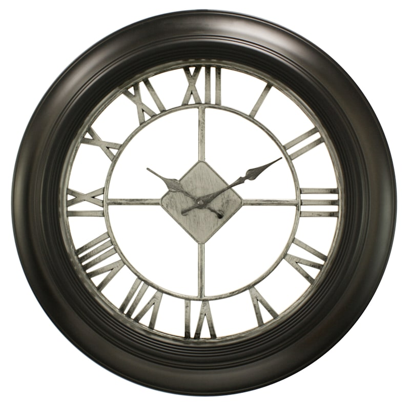 20in. Black With Silver Diamond Wall Clock With Clear Dial