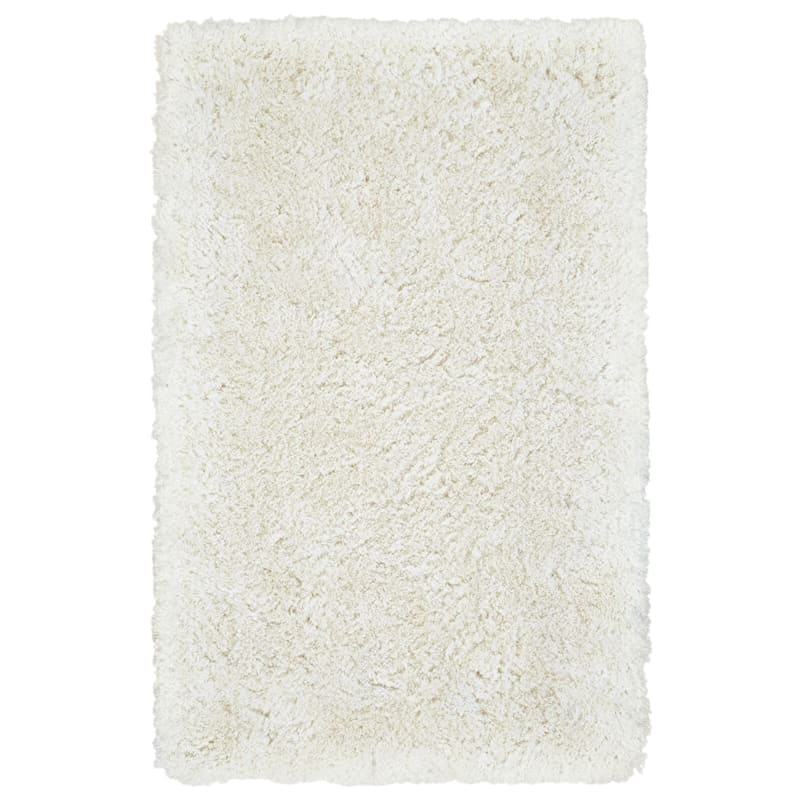 (C96) Thick Polyester Ivory Shag Rug, 8x10