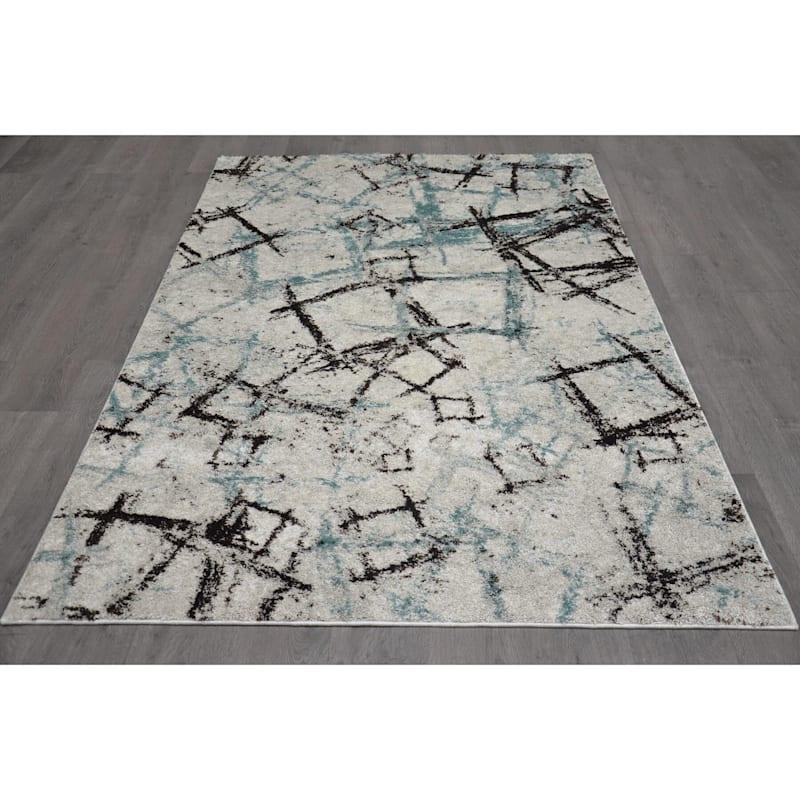(B426) Ivory & Blue Modern Sketch Design, 8x10