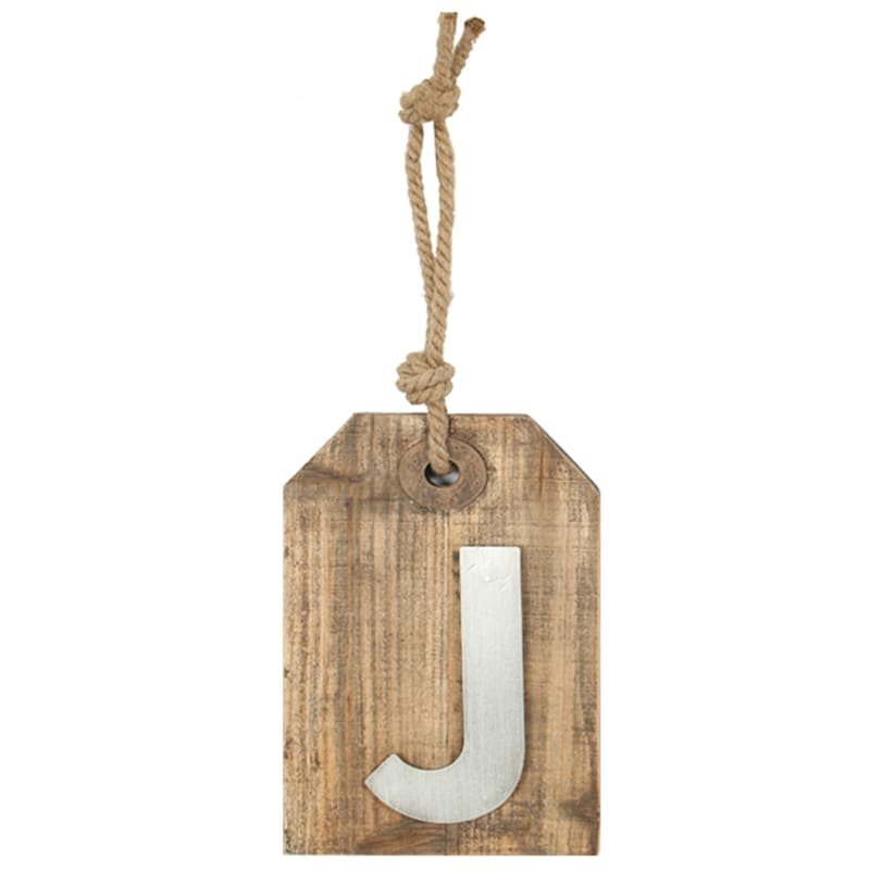5X8 Hanging Wood With Metal Letter J