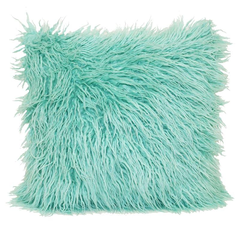 "Mongolian Blue Faux Fur Throw Pillow, 18"""