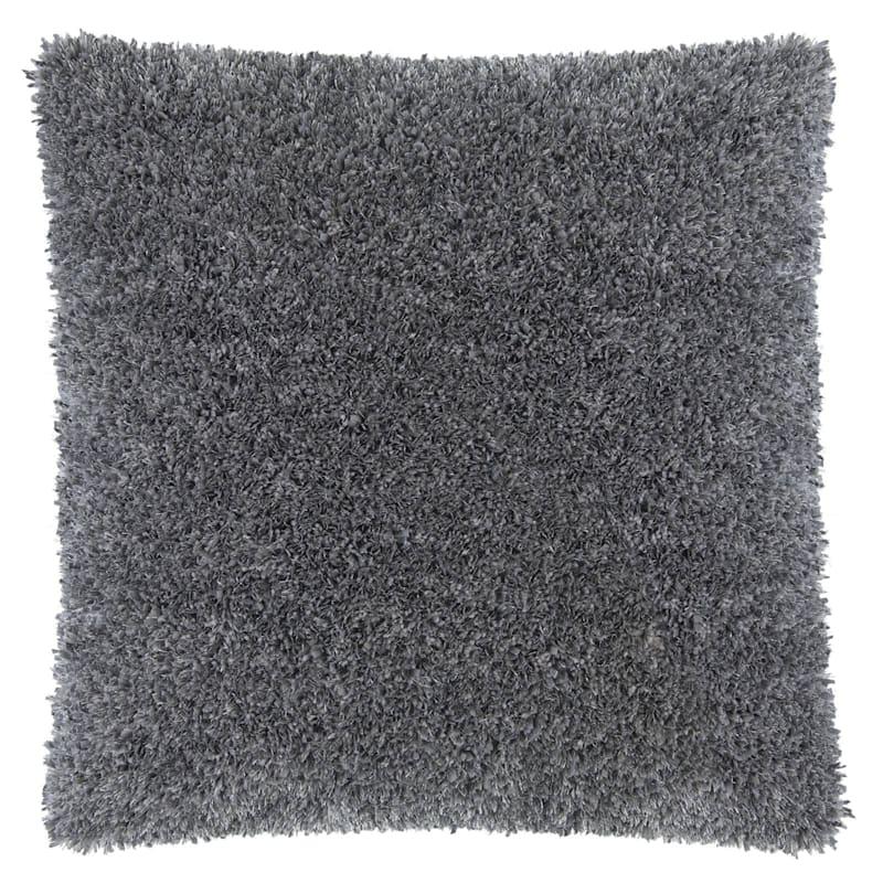 Moove Dark Grey Shag Pillow 24X24