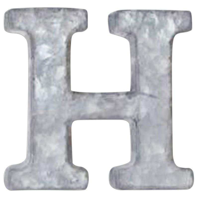 12in. Galvanized Metal Monogram H