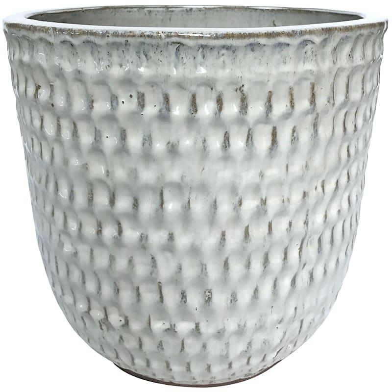 Corey 12.6in. Beige Outdoor Ceramic Planter