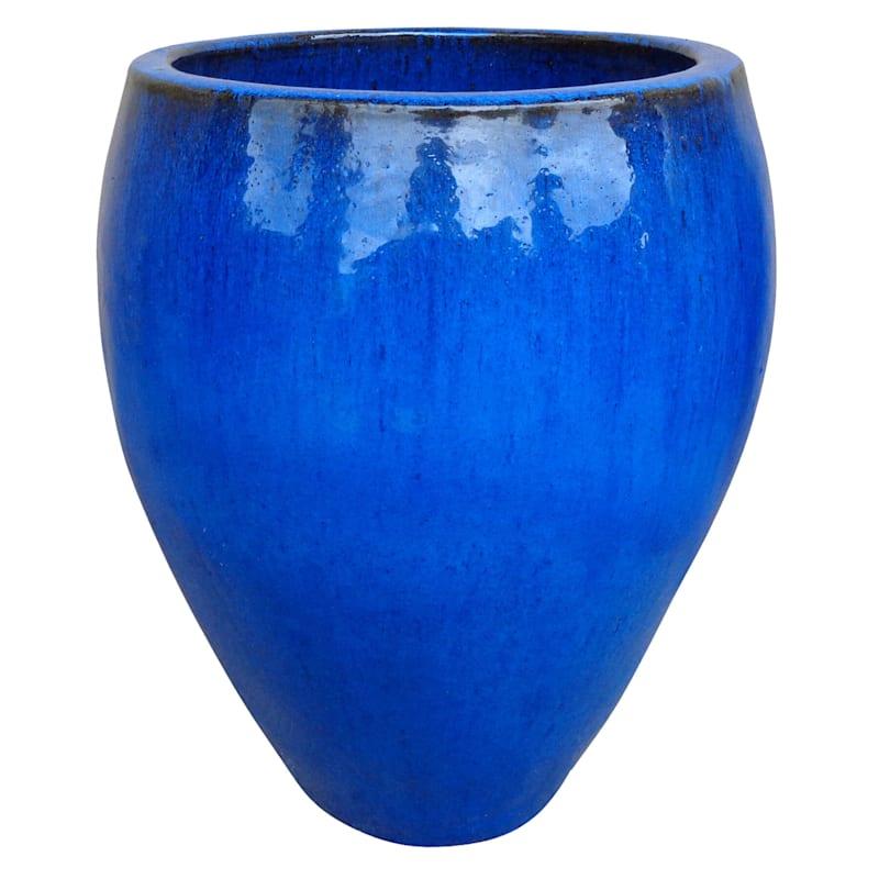Arcadia Urn Ceramic Planter 16.9in. Blue