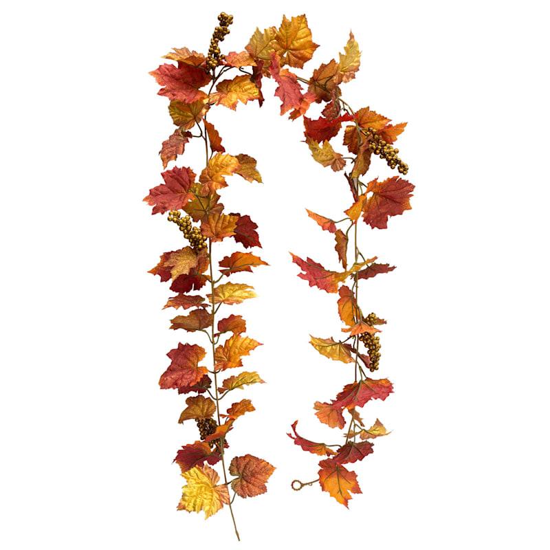 Grape Leaf/Berries Garland- 6-ft