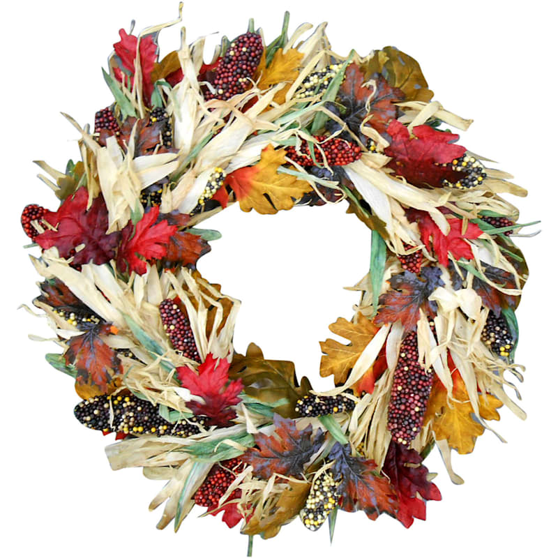 Corn with Corn Husk Wreath- 28-in