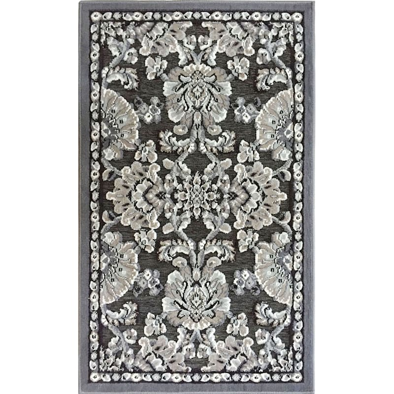 Arrington Damask Chenille High/Low Textured Accent Rug Grey & Taupe, 2x4