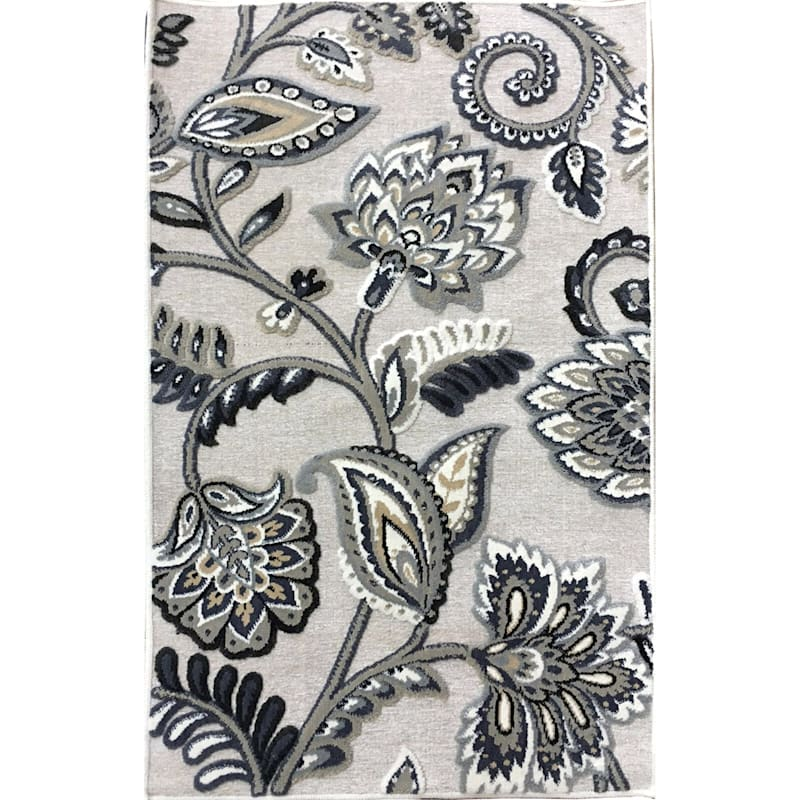 Arrington Floral Chenille High/Low Textured Accent Rug Ivory Floral, 2x4