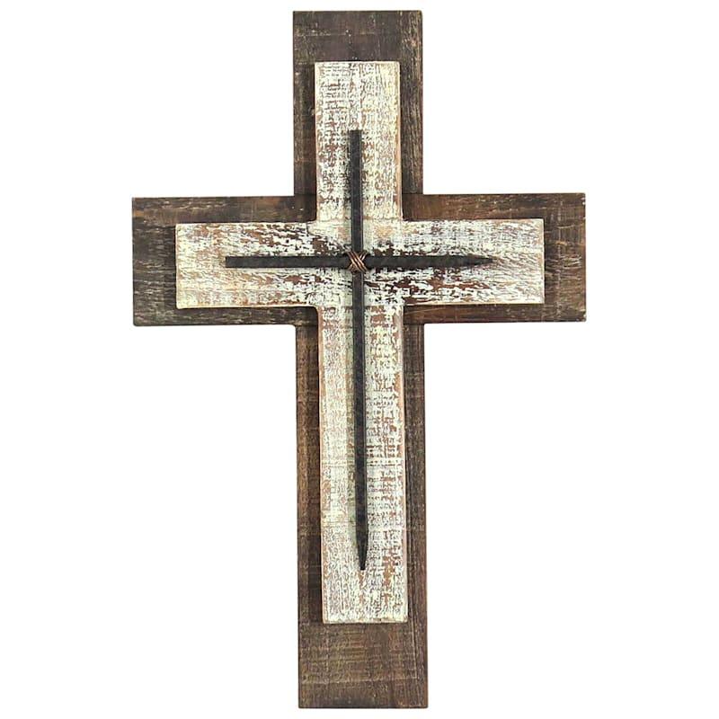 16X10 Wood Antique Wall Cross