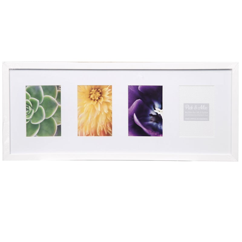 Pick And Mix 4-Opening 4X6 White Mat Linear Collage Photo Frame