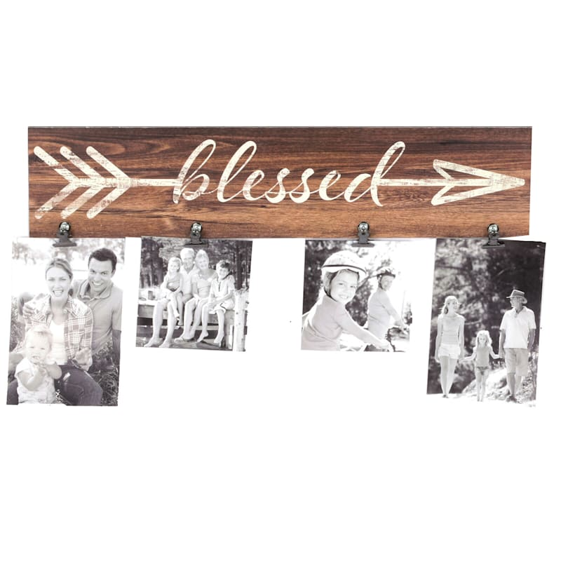 18X4 Home Photo Clip Collage Holds (X2) 4X4 And (X2) 4X6 Photos