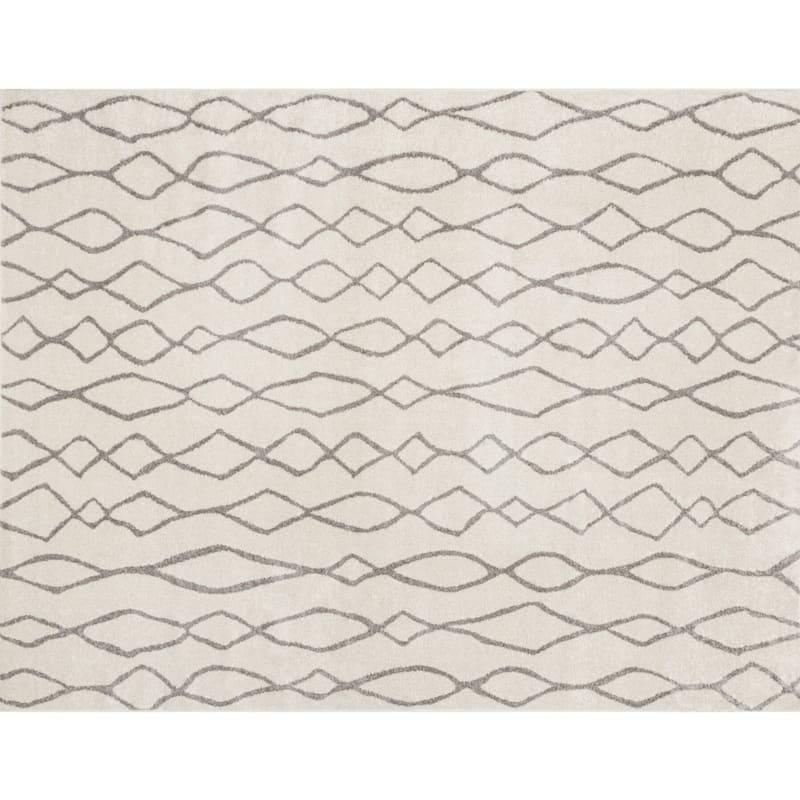 (D376) Lucas Trellis Moroccan Ivory & Beige Area Rug, 5x7