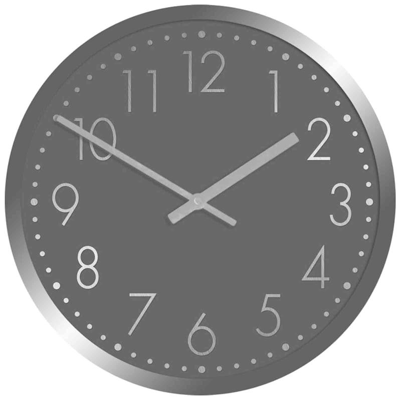 12X12 Round Silver Metallic Frame Clock