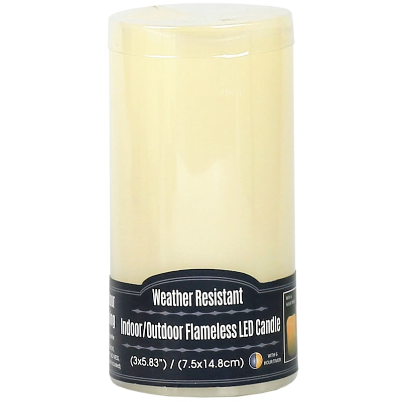 3X6 Led Plastic Candle With 6 Hour Timer Ivory