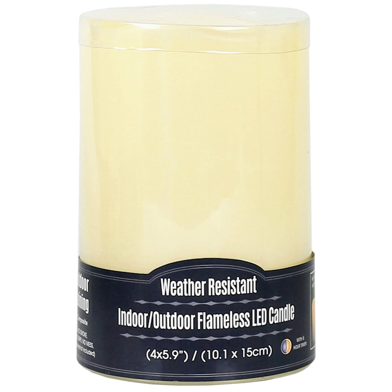 4X6 Led Plastic Candle With 6 Hour Timer Ivory