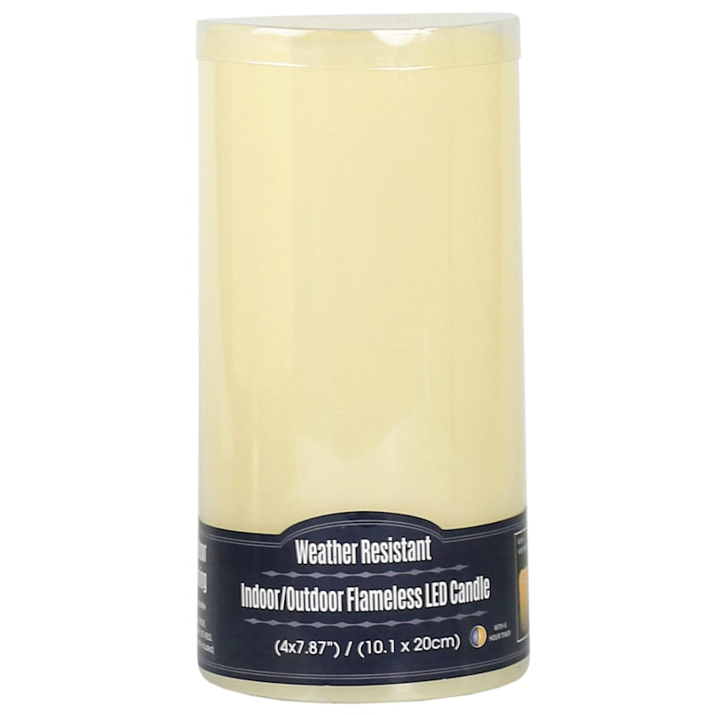 4X8 Led Plastic Candle With 6 Hour Timer Ivory