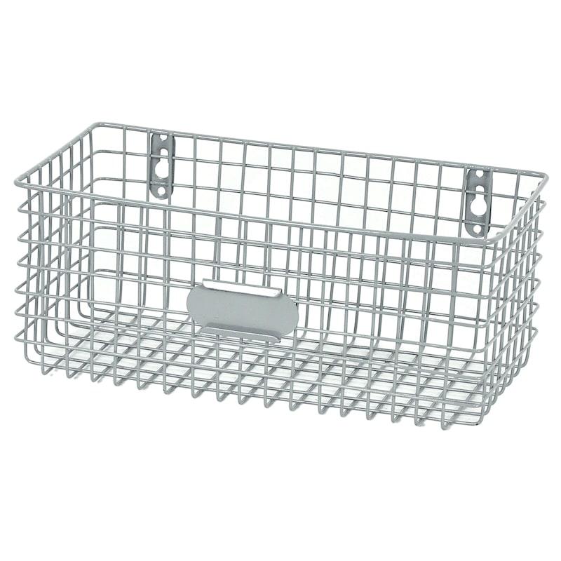 Rectangle Metal Mesh Wal Basket Grey