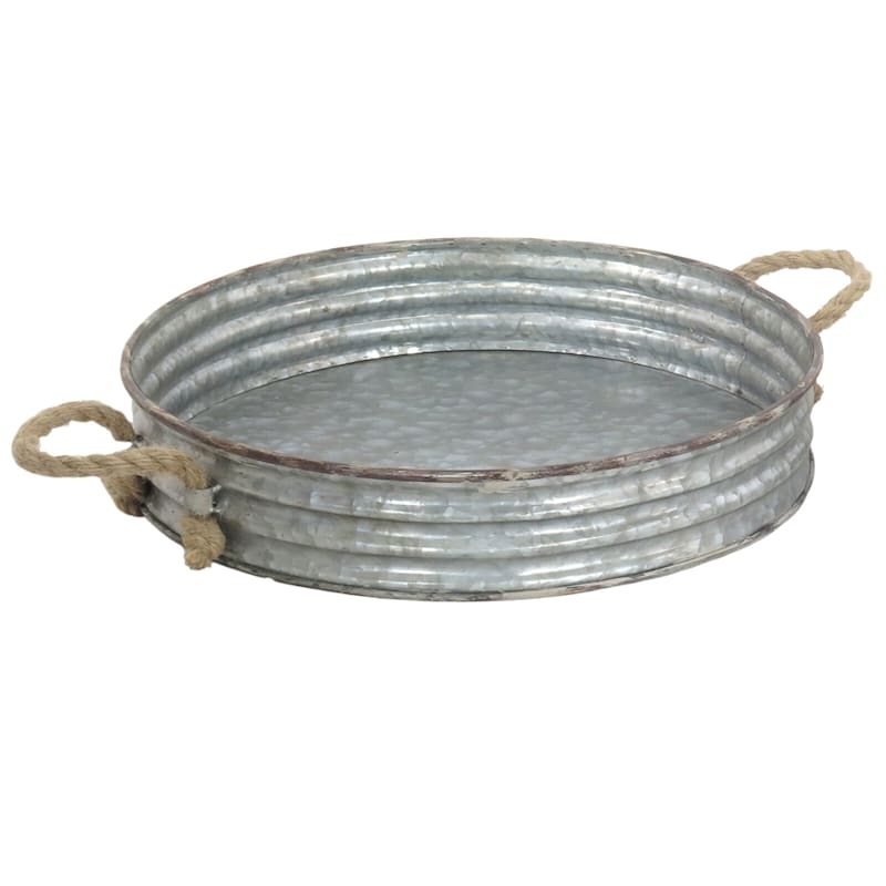 16X3 Iron Tray With Rope Handle