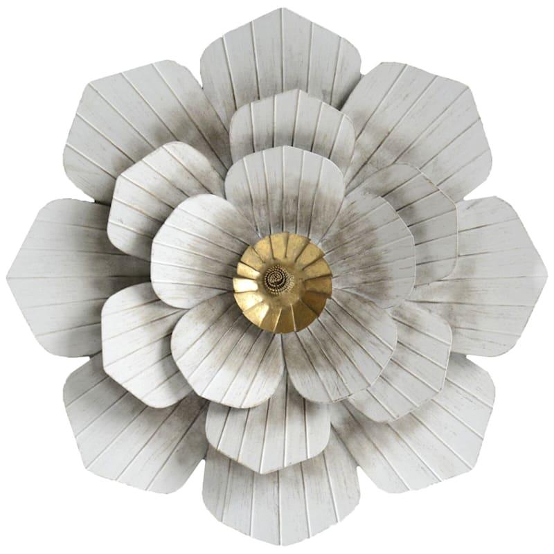 20X20 Whitewash Metal Embossed Flower