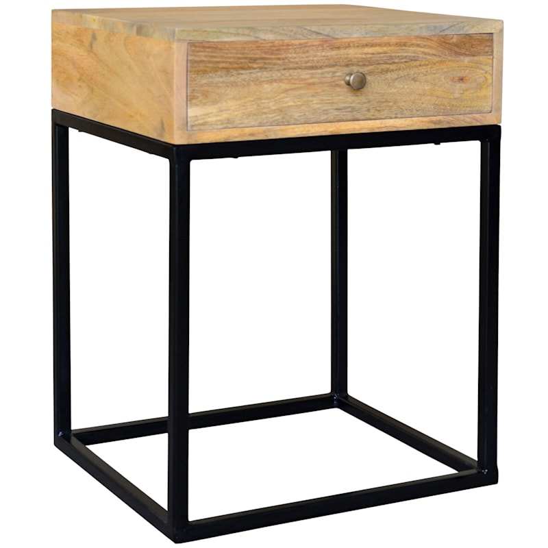 Kira Wood Side Table With Drawer Metal Legs