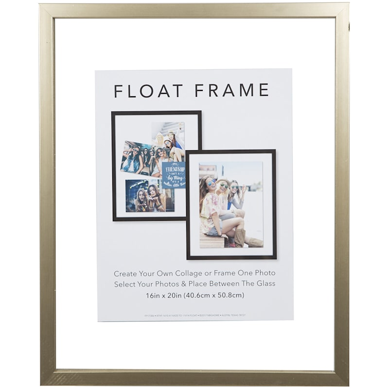 16X20 Gold Linear Profile Float Photo Wall Frame