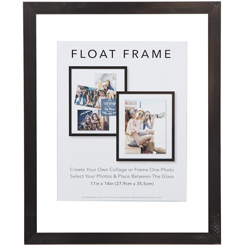 11X14 Pewter Linear Profile Float Photo Wall Frame