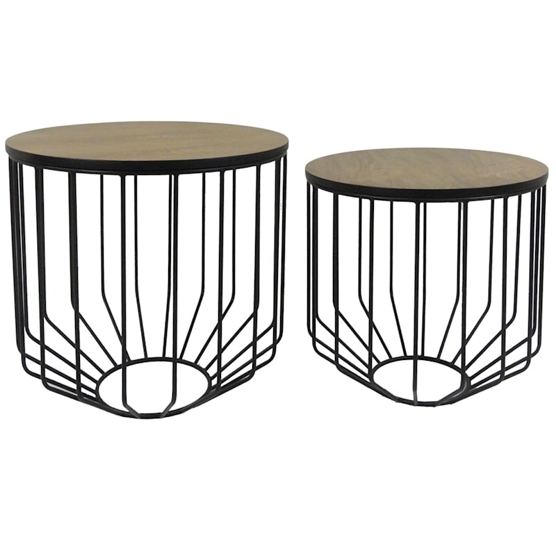 Round Wood Top Plant Stand With Metal Basket Base, Small