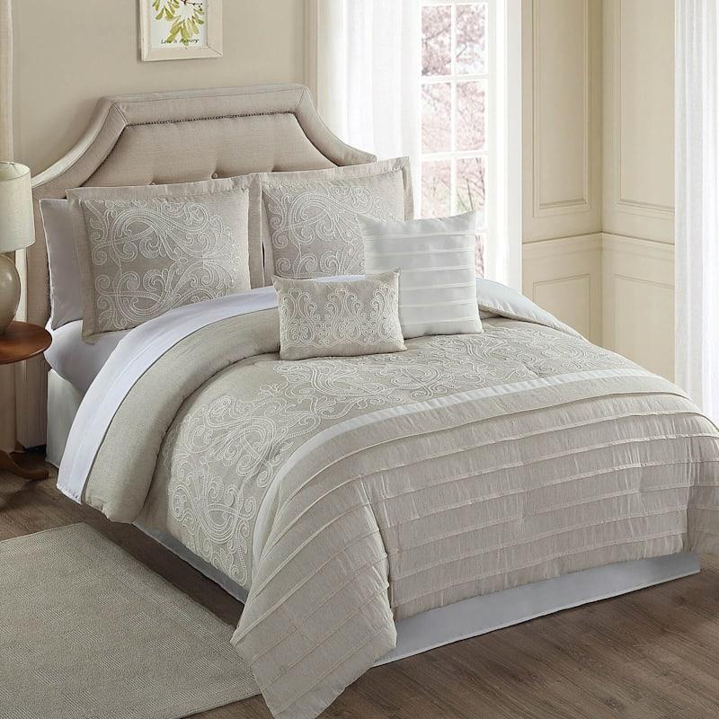 Natural 6-Piece Glorious Linen-Blend Embroidered Comforter Set Queen