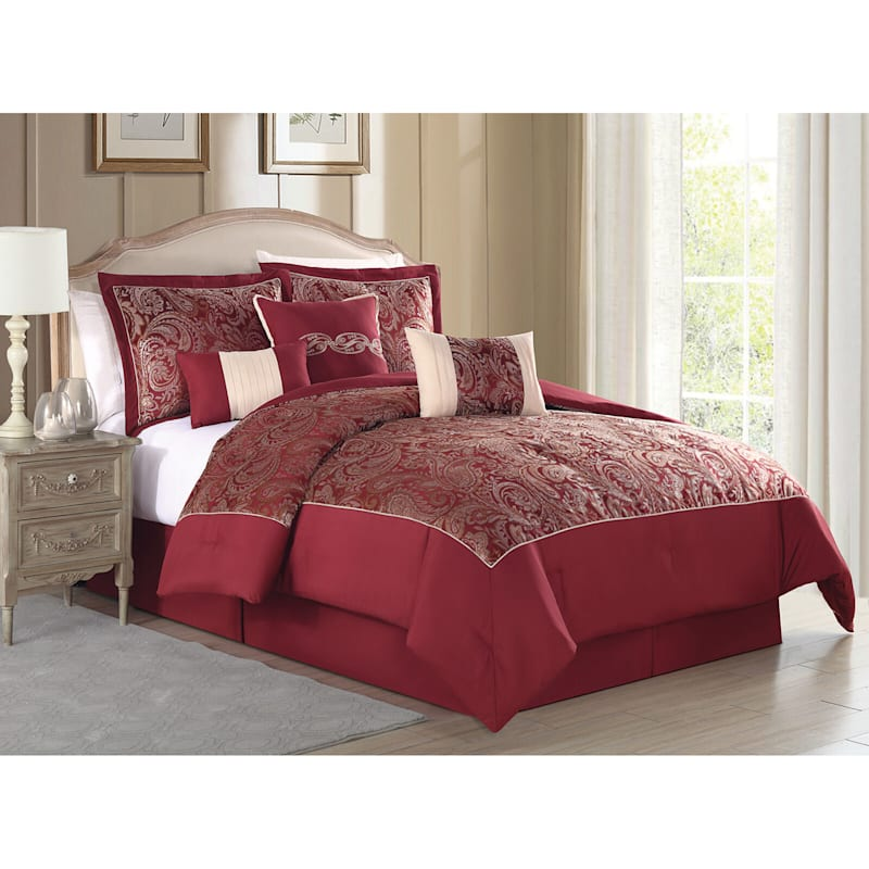 Paccia 7-Piece Jacquard Comforter Set King