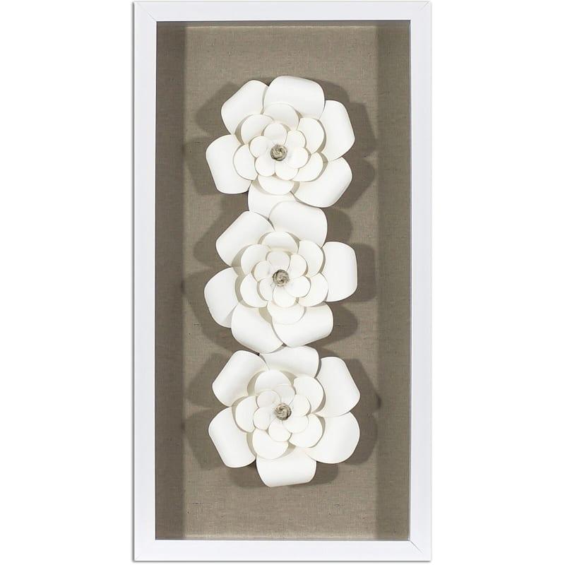 Framed White Flowers Tan Shadow Box