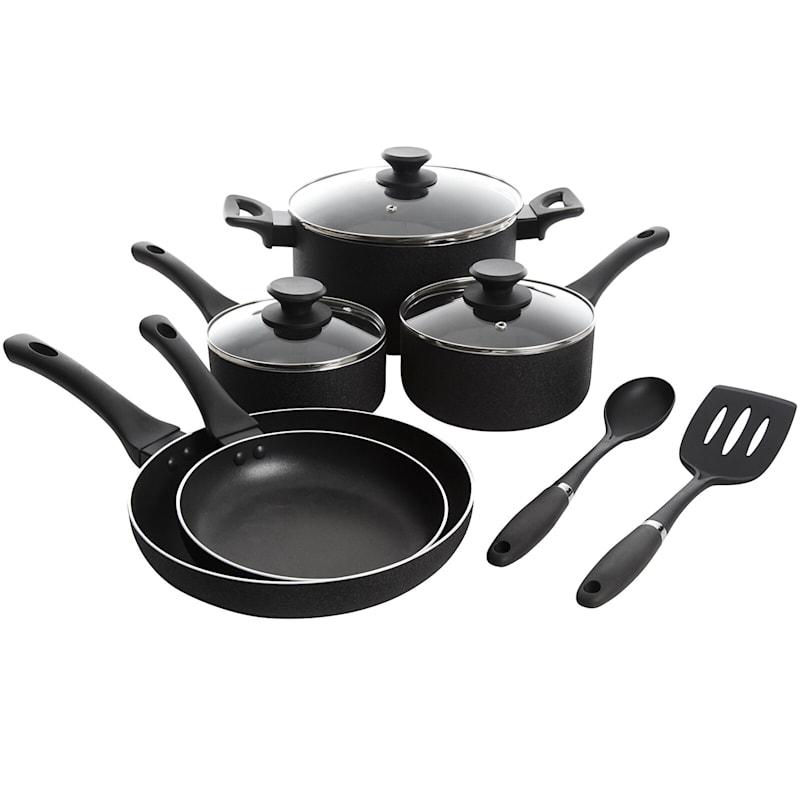 Oster Ashford 10-Piece Aluminum Cookware Set W/Soft Touch Handle Blk Nonstick