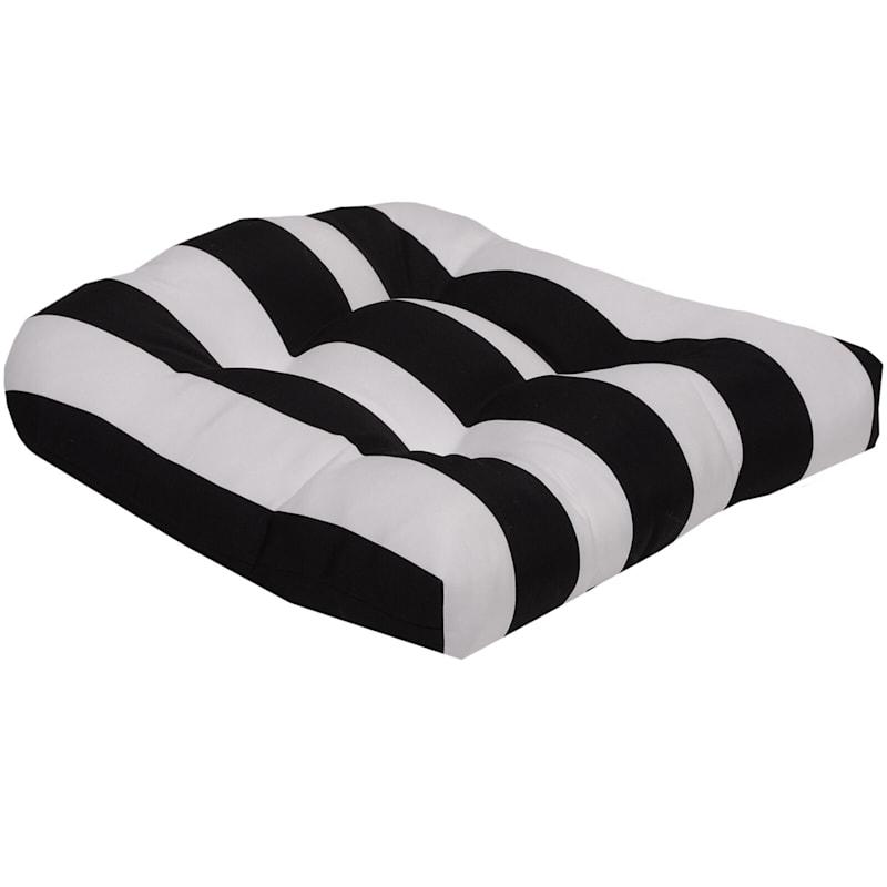 Black Awning Stripe Outdoor Wicker Seat Cushion
