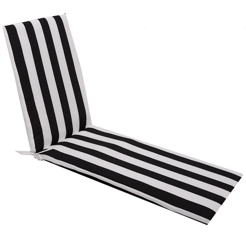 Black Awning Stripe Outdoor Chaise Lounge Basic Cushion