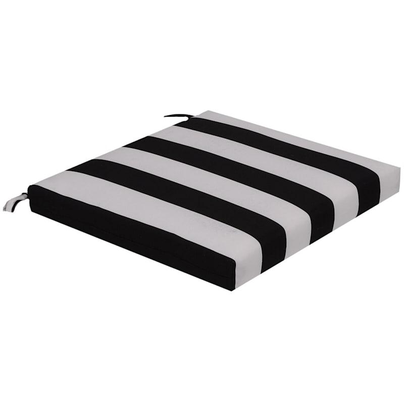 Black Awning Stripe Outdoor Square Seat Cushion