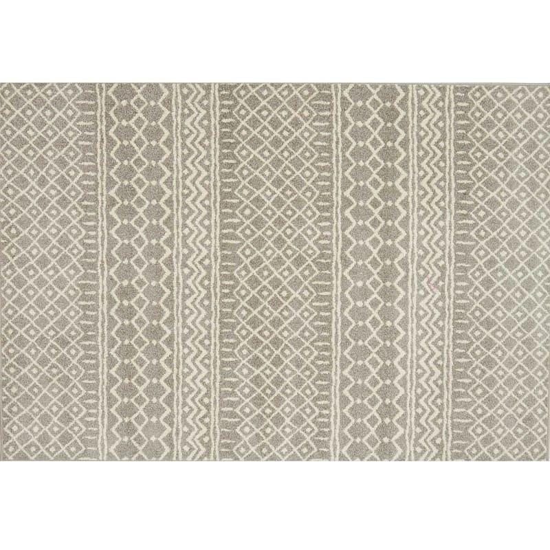 (D403) Lucas Trellis Moroccan Beige Area Rug, 8x10