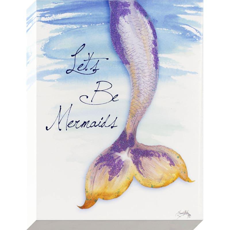 12X16 Lets Be Mermaids Enhanced Glitter Canvas