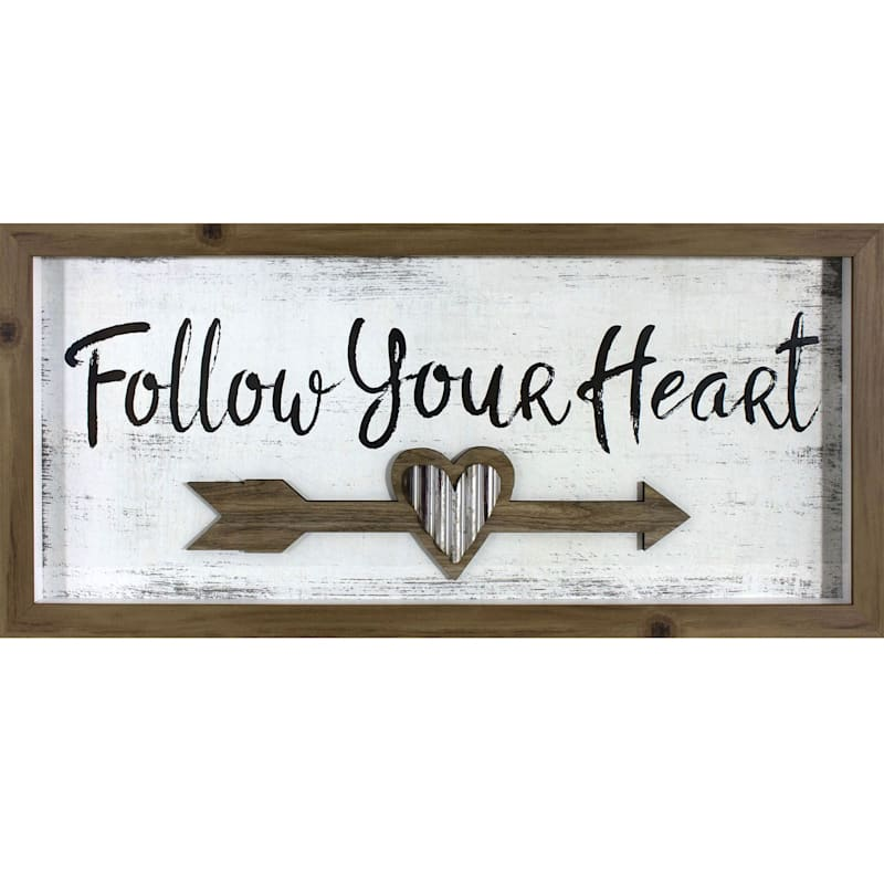 10X24 Follow Your Heart With Lift Framed/Glass