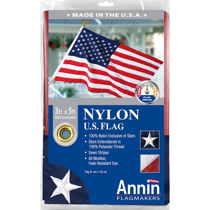 3X5ft. Premium Nylon USA Flag W/Grommets/Embroidered Stars