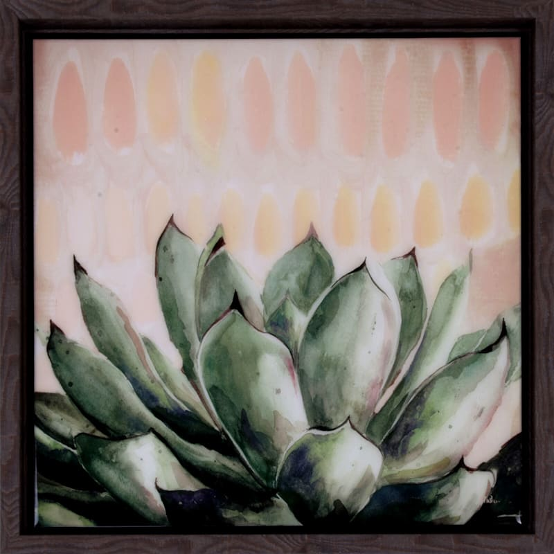 14X14 Modern Green Agave Plaque With Frame