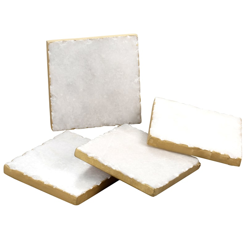 Square White Marble Coasters/Gold Color Edge Set Of 4