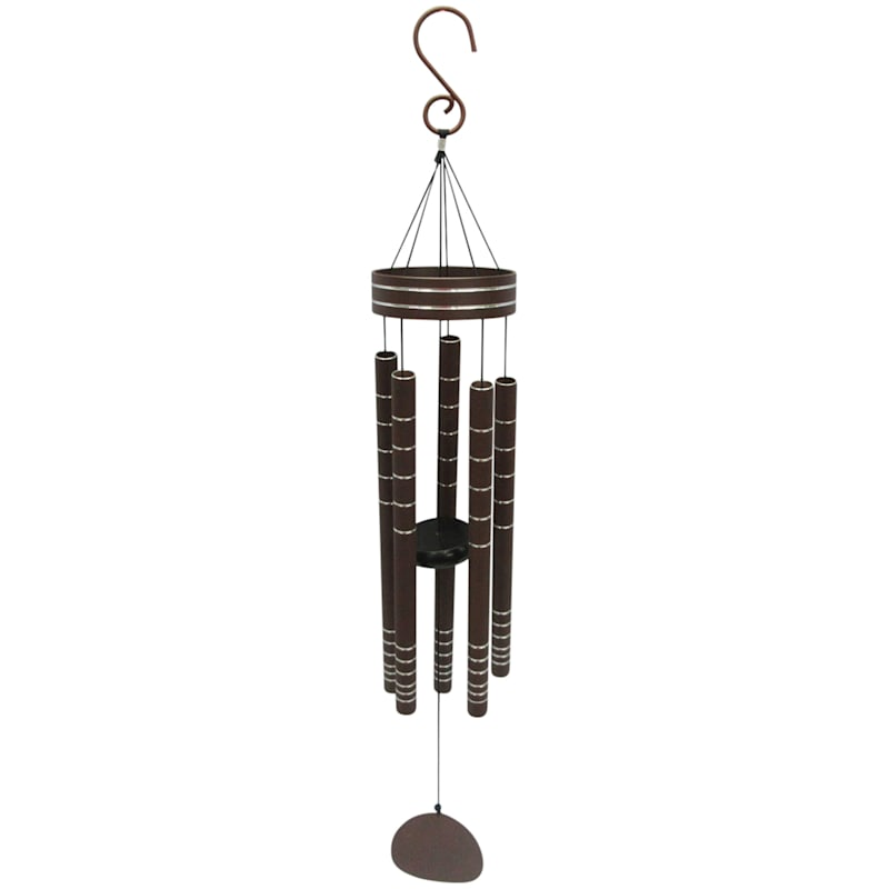 Metal Windchime/Silver Etched Design On Tubes