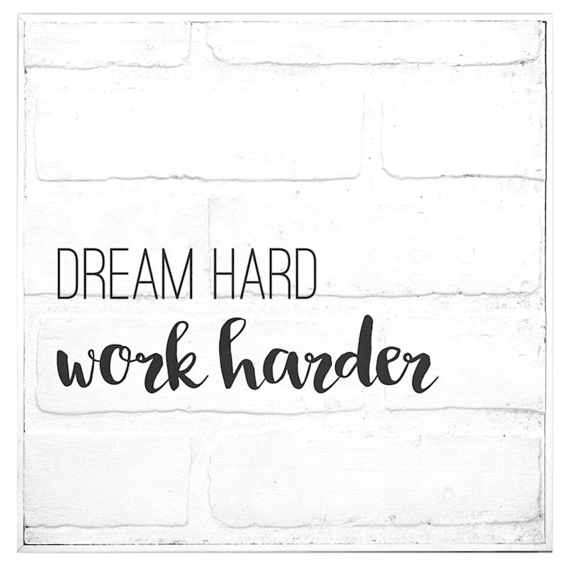 12X12 White Wood Brick Dream Hard Work Harder Wall Decor