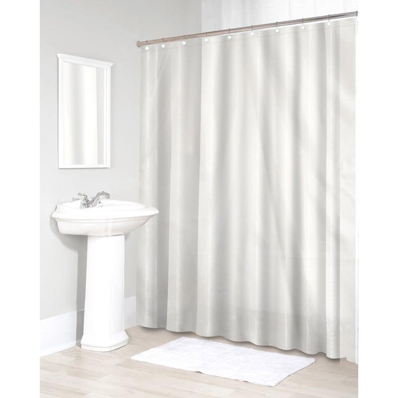 Sheer White Fabric Shower Curtain Liner 70X72