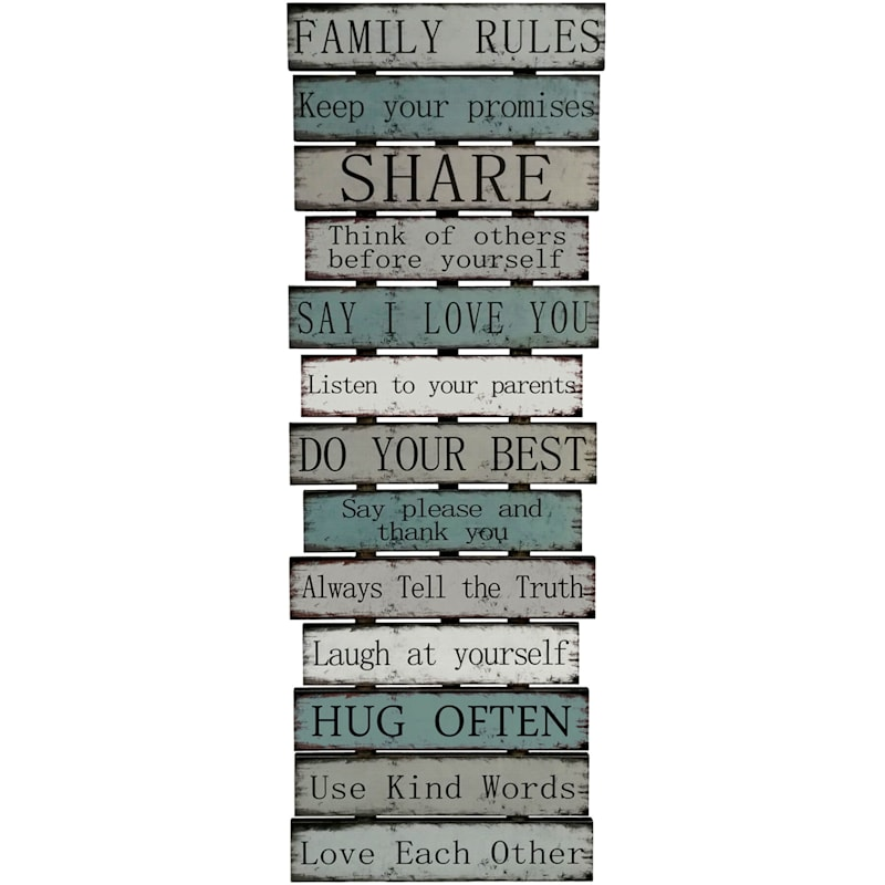 Wooden Family Rules Sign
