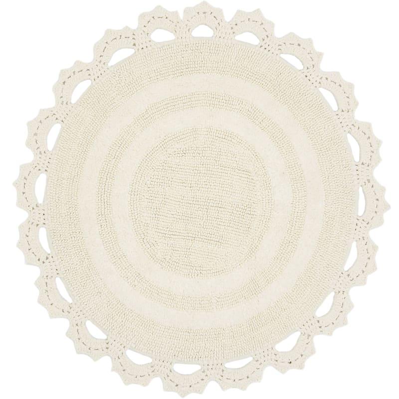 Edlyn Ivory 100% Cotton Round Crochet Trim Bath Rug 30in.