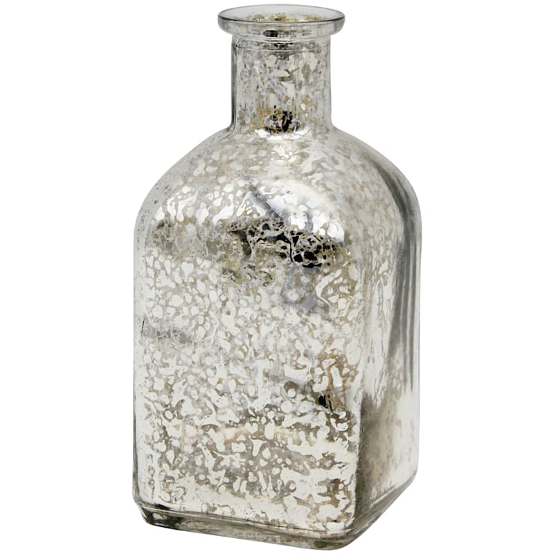 2X5 Silver Glass Bottle Vase