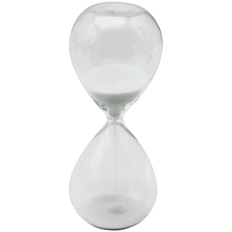 5in. White Sand Hour Glass With Timer