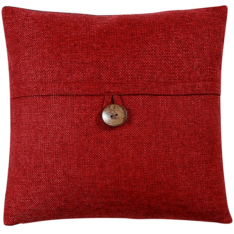 Clayton Red Feather Filled Coconut Button Pillow 20X20