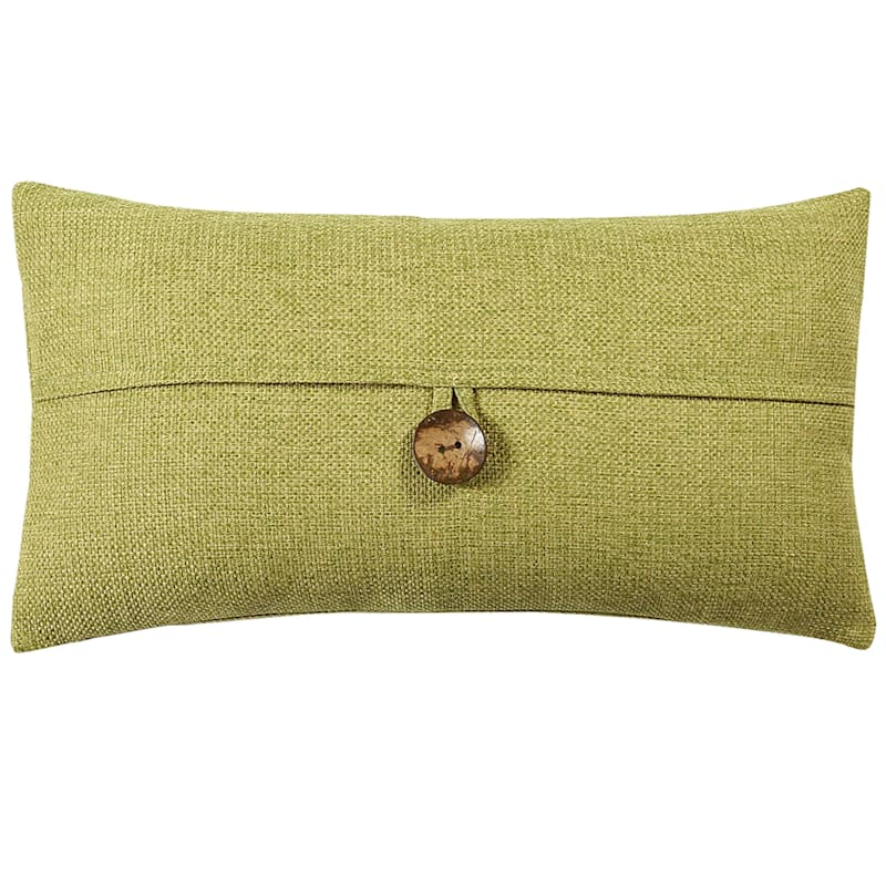 Clayton Green Feather Filled Coconut Button Pillow 13X24